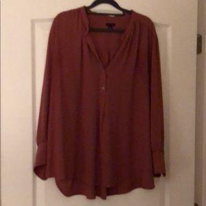 Deep blushy mocha colored blouse.